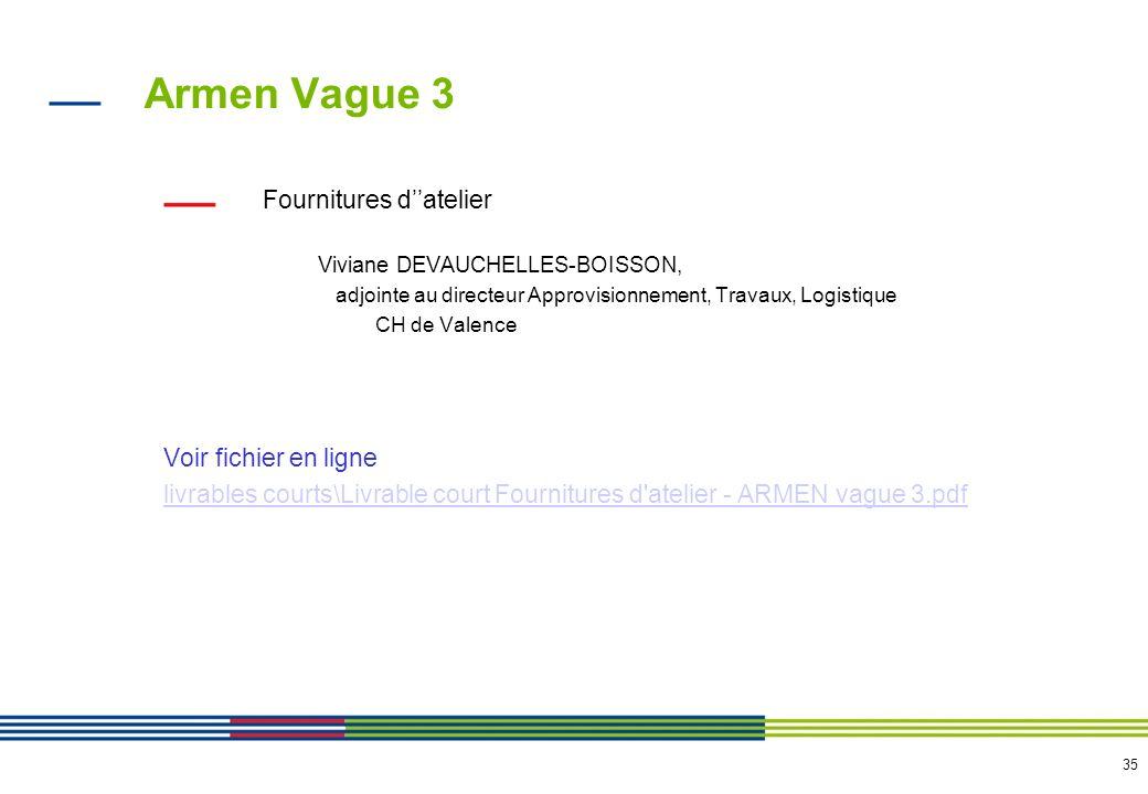 35 Armen Vague 3 Fournitures datelier Viviane DEVAUCHELLES-BOISSON, adjointe au directeur Approvisionnement, Travaux, Logistique CH de Valence Voir fi