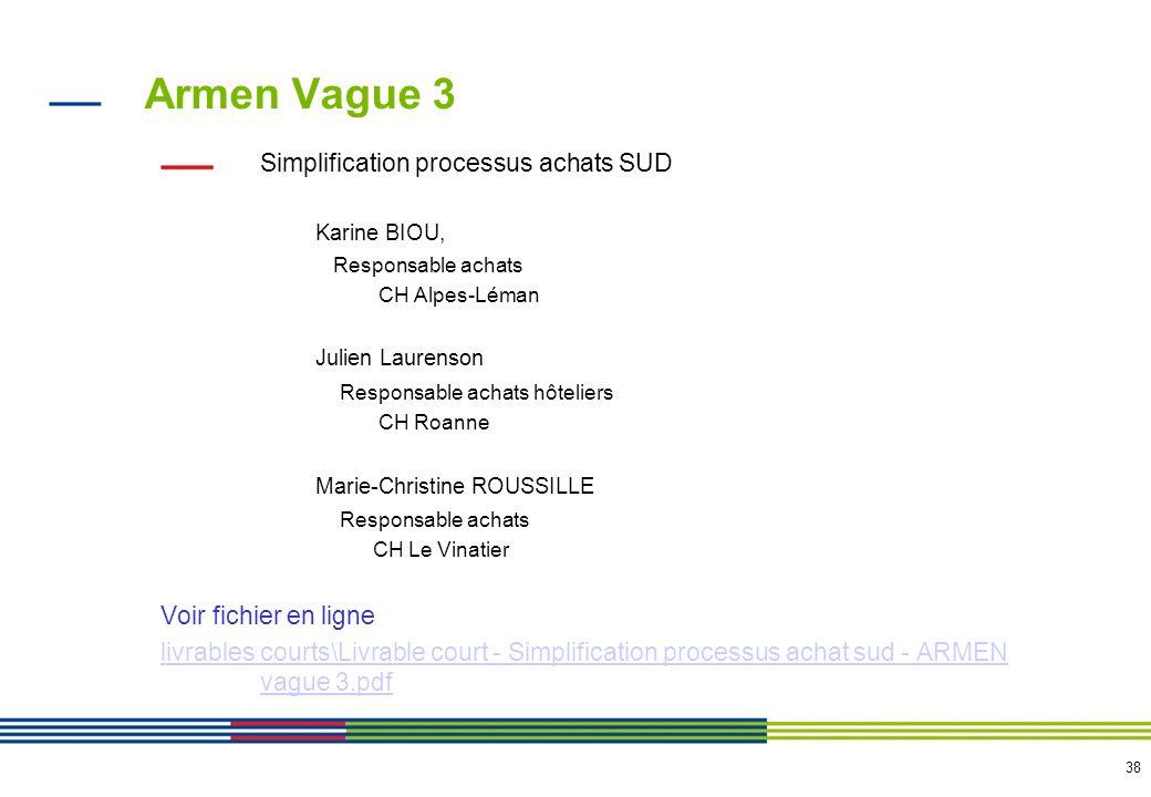 38 Armen Vague 3 Simplification processus achats SUD Karine BIOU, Responsable achats CH Alpes-Léman Julien Laurenson Responsable achats hôteliers CH R