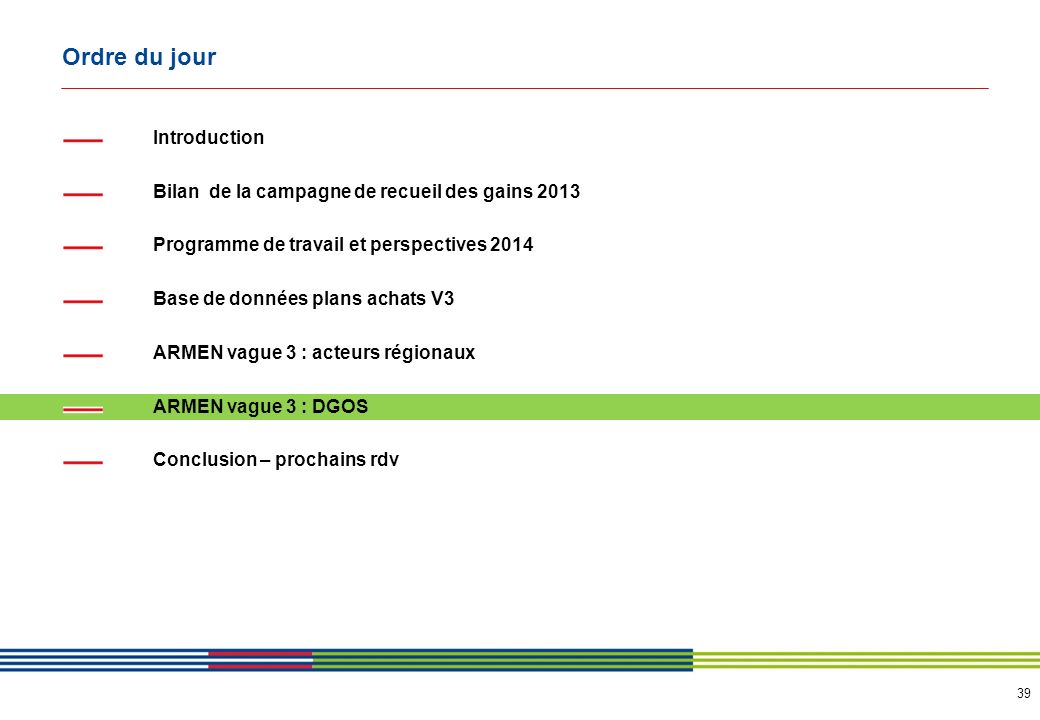 39 Ordre du jour Introduction Bilan de la campagne de recueil des gains 2013 Programme de travail et perspectives 2014 Base de données plans achats V3