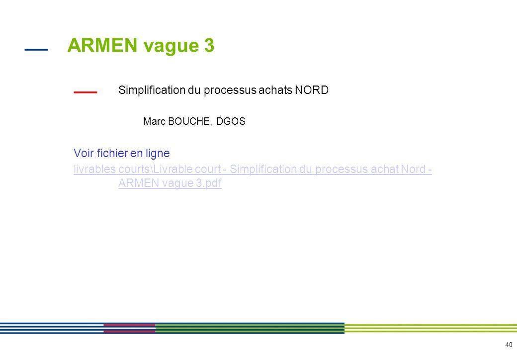 40 ARMEN vague 3 Simplification du processus achats NORD Marc BOUCHE, DGOS Voir fichier en ligne livrables courts\Livrable court - Simplification du p