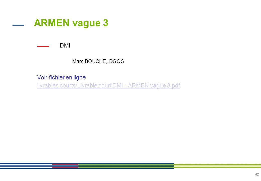 42 ARMEN vague 3 DMI Marc BOUCHE, DGOS Voir fichier en ligne livrables courts\Livrable court DMI - ARMEN vague 3.pdf