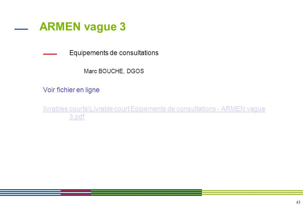 43 ARMEN vague 3 Equipements de consultations Marc BOUCHE, DGOS Voir fichier en ligne livrables courts\Livrable court Eqipements de consultations - AR