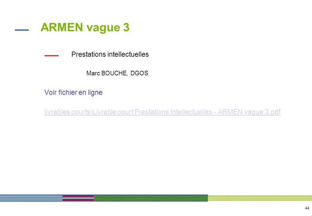 44 ARMEN vague 3 Prestations intellectuelles Marc BOUCHE, DGOS Voir fichier en ligne livrables courts\Livrable court Prestations Intellectuelles - ARM