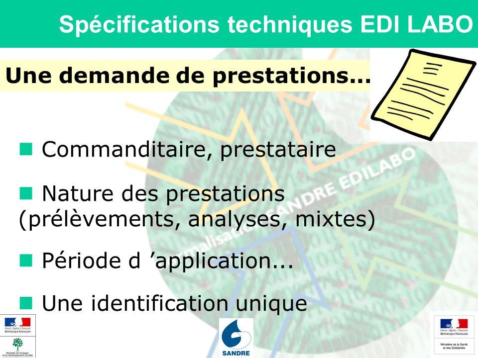 Spécifications techniques EDI LABO Une demande de prestations... Nature des prestations (prélèvements, analyses, mixtes) Période d application... Comm