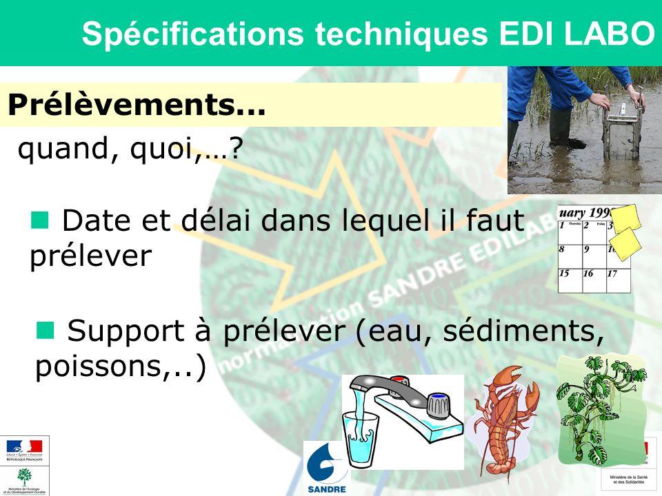 Spécifications techniques EDI LABO Prélèvements... Support à prélever (eau, sédiments, poissons,..) quand, quoi,…? Date et délai dans lequel il faut p
