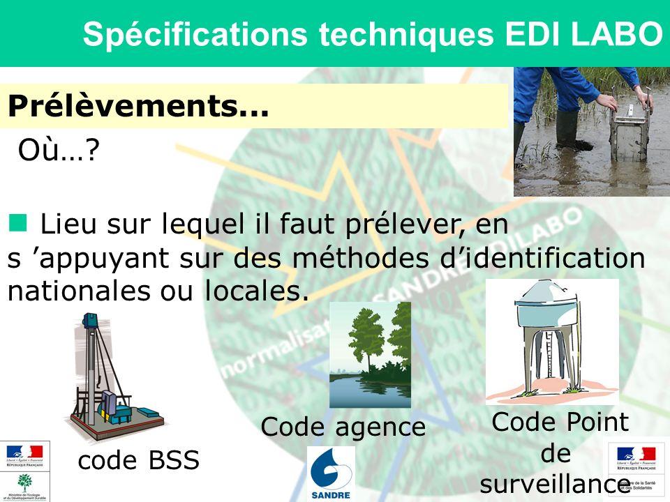 Spécifications techniques EDI LABO Prélèvements... Lieu sur lequel il faut prélever, en s appuyant sur des méthodes didentification nationales ou loca