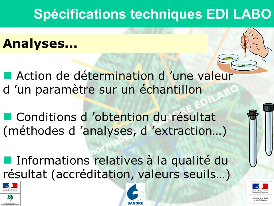 Spécifications techniques EDI LABO Analyses... Action de détermination d une valeur d un paramètre sur un échantillon Conditions d obtention du résult
