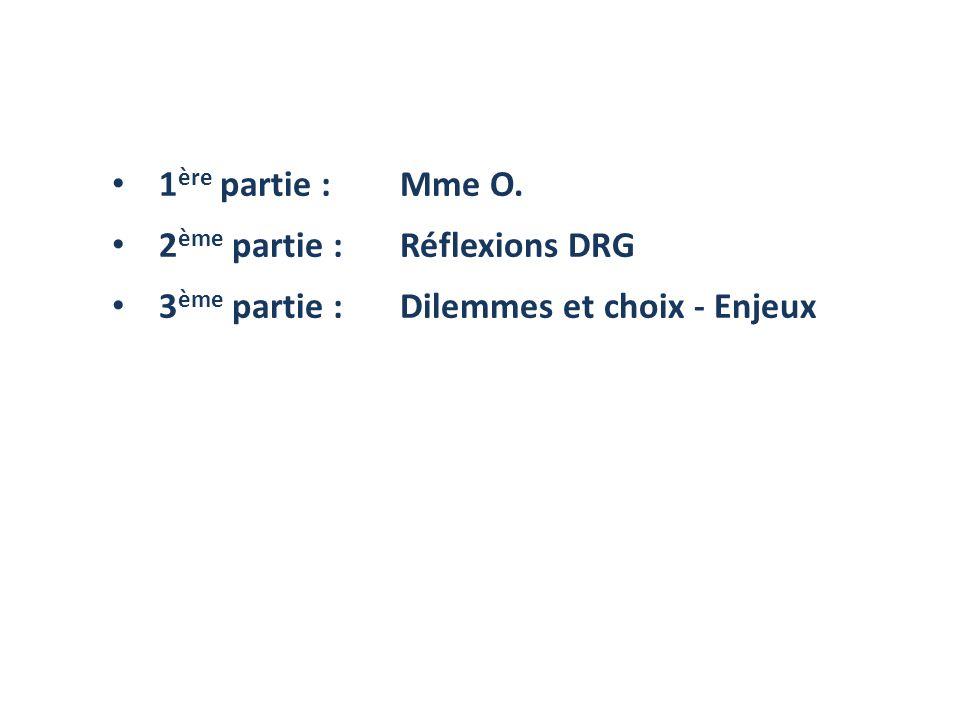 1 ère partie : Mme O. 2 ème partie :Réflexions DRG 3 ème partie : Dilemmes et choix - Enjeux