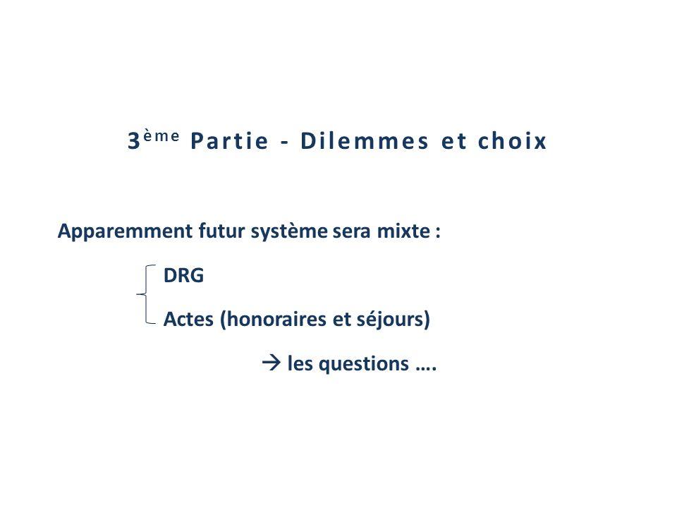3 ème Partie - Dilemmes et choix Apparemment futur système sera mixte : DRG Actes (honoraires et séjours) les questions ….