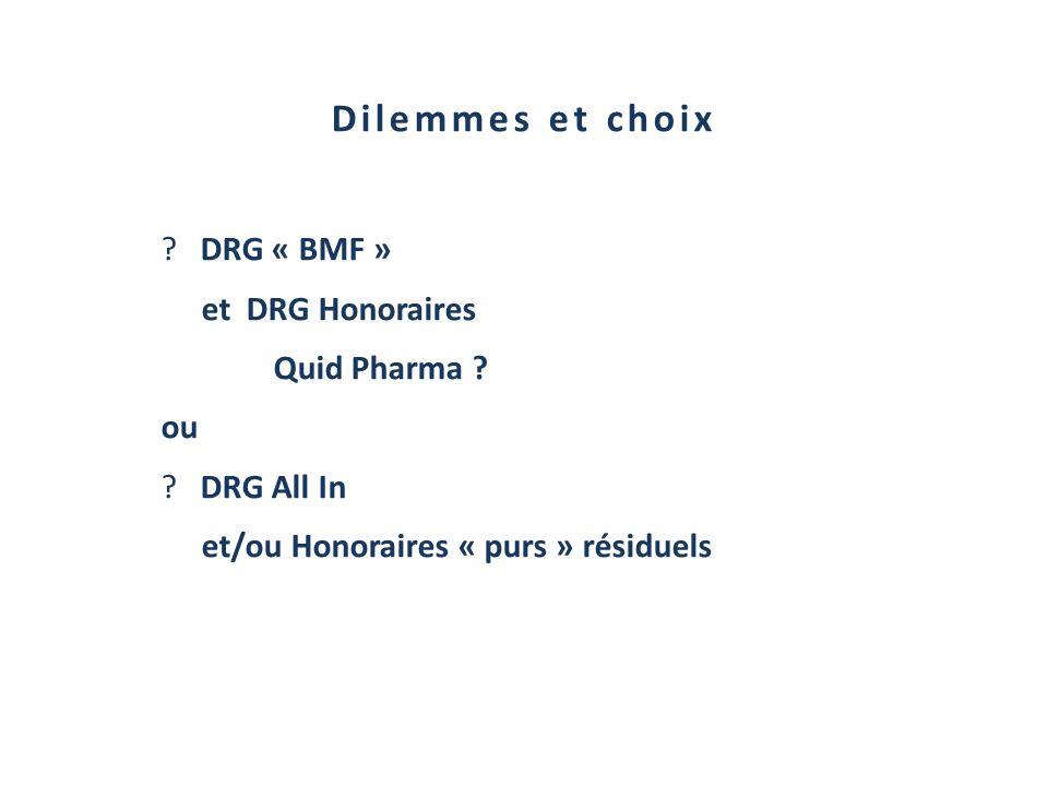Dilemmes et choix ?DRG « BMF » et DRG Honoraires Quid Pharma ? ou ?DRG All In et/ou Honoraires « purs » résiduels