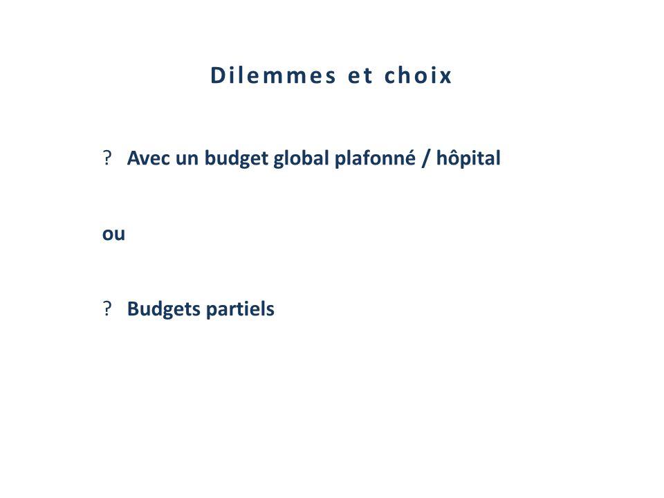 Dilemmes et choix ?Avec un budget global plafonné / hôpital ou ?Budgets partiels