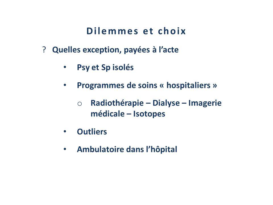 Dilemmes et choix ?Quelles exception, payées à lacte Psy et Sp isolés Programmes de soins « hospitaliers » o Radiothérapie – Dialyse – Imagerie médica