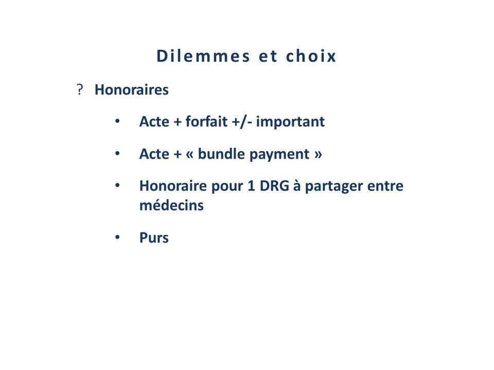 Dilemmes et choix ?Honoraires Acte + forfait +/- important Acte + « bundle payment » Honoraire pour 1 DRG à partager entre médecins Purs