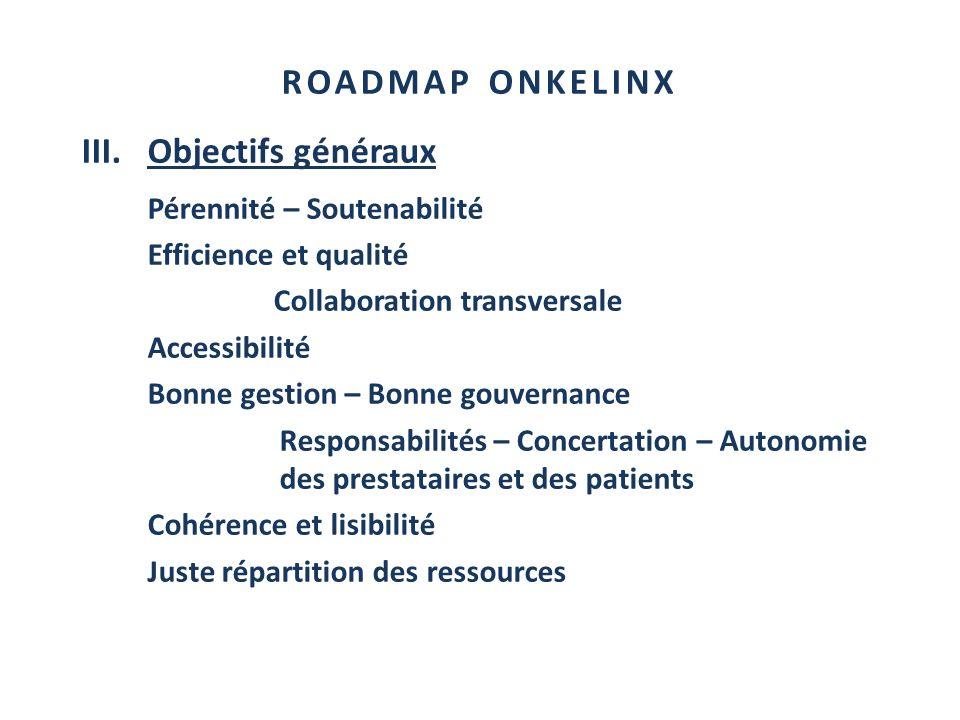 ROADMAP ONKELINX III.Objectifs généraux Pérennité – Soutenabilité Efficience et qualité Collaboration transversale Accessibilité Bonne gestion – Bonne
