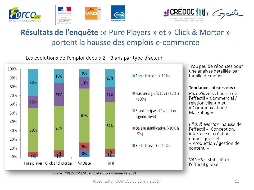Résultats de lenquête :« Pure Players » et « Click & Mortar » portent la hausse des emplois e-commerce 12 Les évolutions de lemploi depuis 2 – 3 ans p