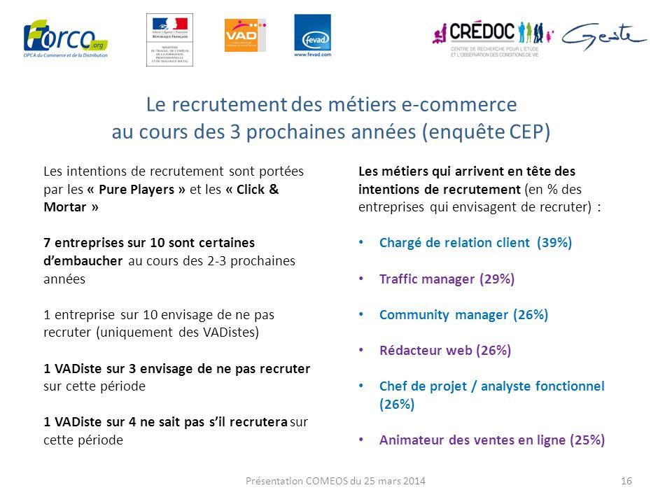Le recrutement des métiers e-commerce au cours des 3 prochaines années (enquête CEP) 16 Les intentions de recrutement sont portées par les « Pure Play