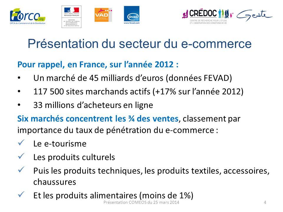 Présentation du secteur du e-commerce Pour rappel, en France, sur lannée 2012 : Un marché de 45 milliards deuros (données FEVAD) 117 500 sites marchan