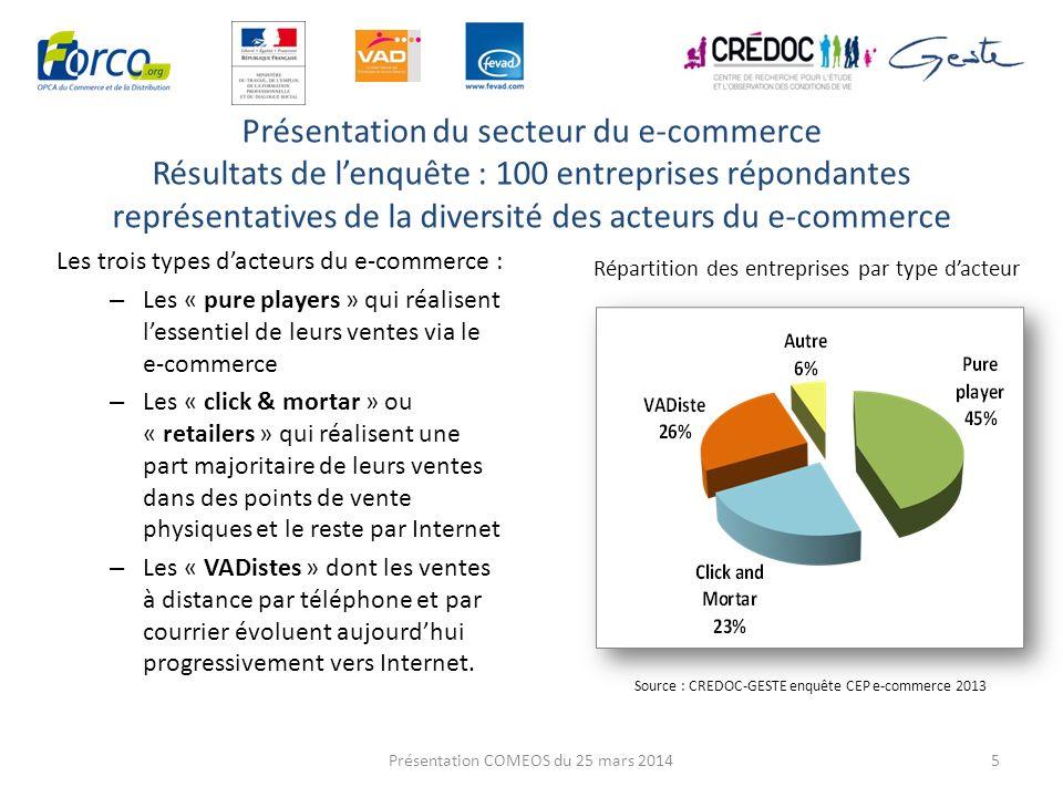 La présentation du secteur : La répartition des effectifs e-commerce (enquête CEP) 6 Les effectifs (France) dédiés au e- commerce se concentrent : chez les « pure players » (près de 2 emplois sur 3) dans les entreprises de 100 personnes et plus (près de 9 emplois sur 10) Les « click and mortar » représentent une part significative de leffectif e-commerce en France près de 1 emploi sur 4 La répartition des effectifs e-commerce par type dacteur Source : CREDOC-GESTE enquête CEP e-commerce 2013 par taille dentreprise Présentation COMEOS du 25 mars 2014