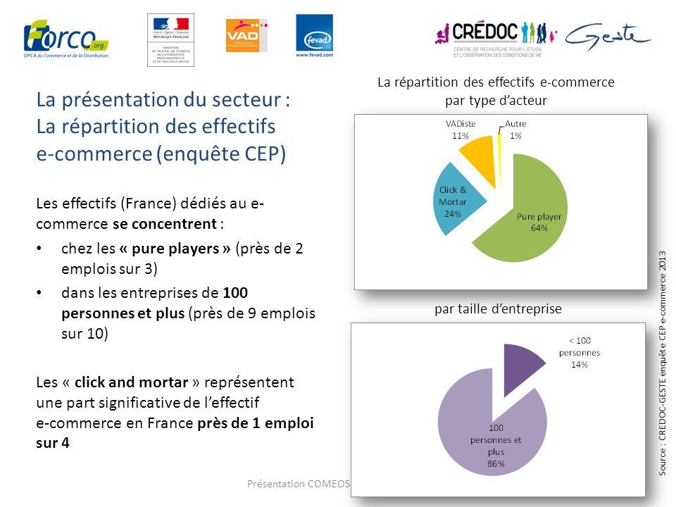 La présentation du secteur : La répartition des effectifs e-commerce (enquête CEP) 6 Les effectifs (France) dédiés au e- commerce se concentrent : che
