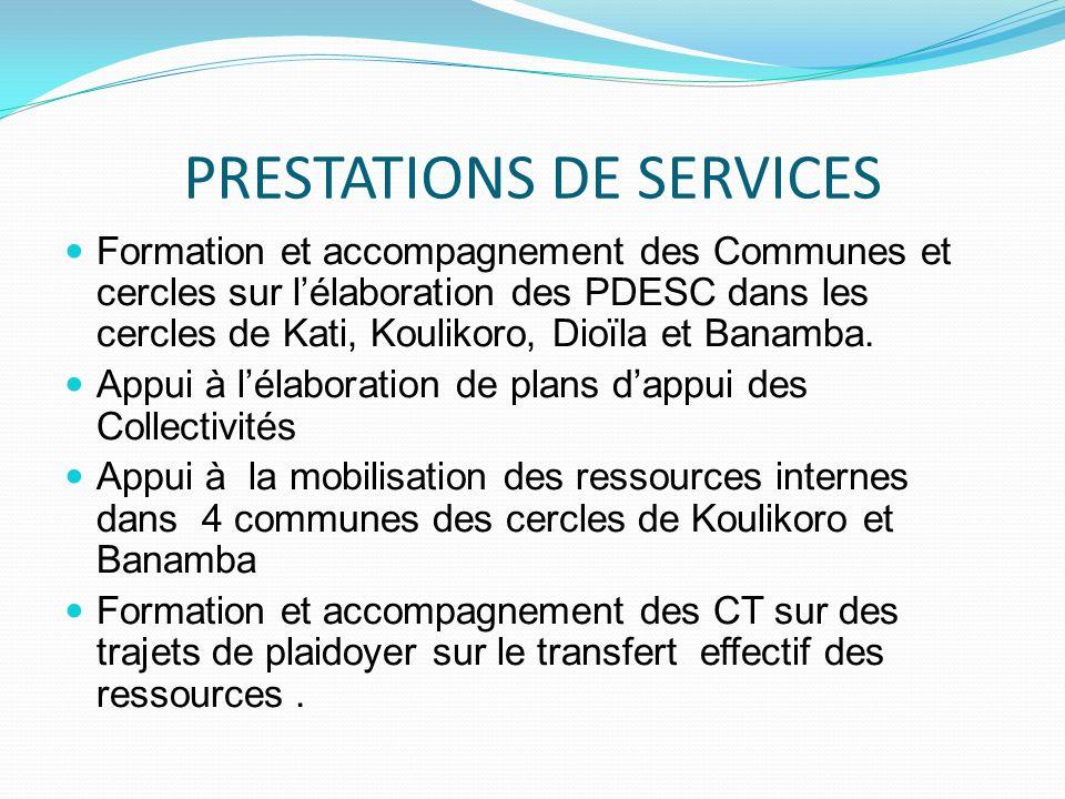PRESTATIONS DE SERVICES Formation et accompagnement des Communes et cercles sur lélaboration des PDESC dans les cercles de Kati, Koulikoro, Dioïla et Banamba.