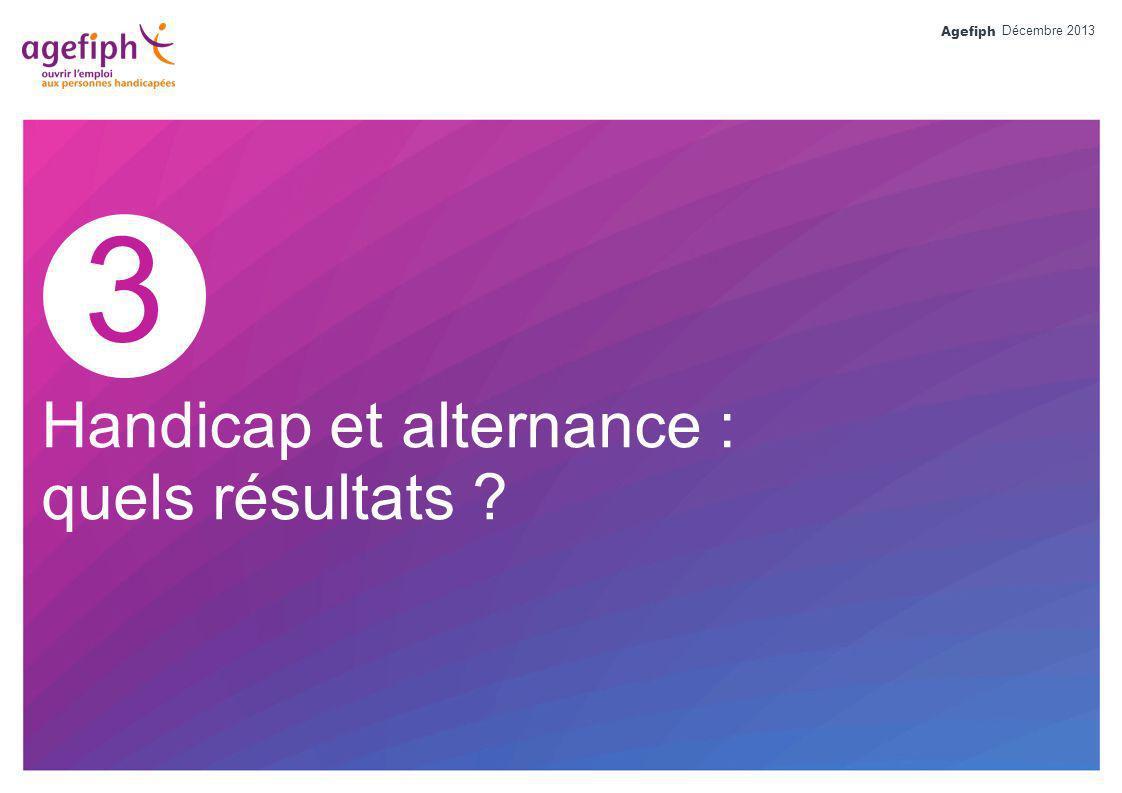 Agefiph 3 Handicap et alternance : quels résultats ? Décembre 2013