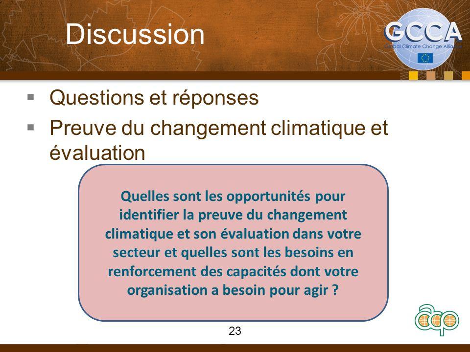 Discussion Questions et réponses Preuve du changement climatique et évaluation Quelles sont les opportunités pour identifier la preuve du changement climatique et son évaluation dans votre secteur et quelles sont les besoins en renforcement des capacités dont votre organisation a besoin pour agir .