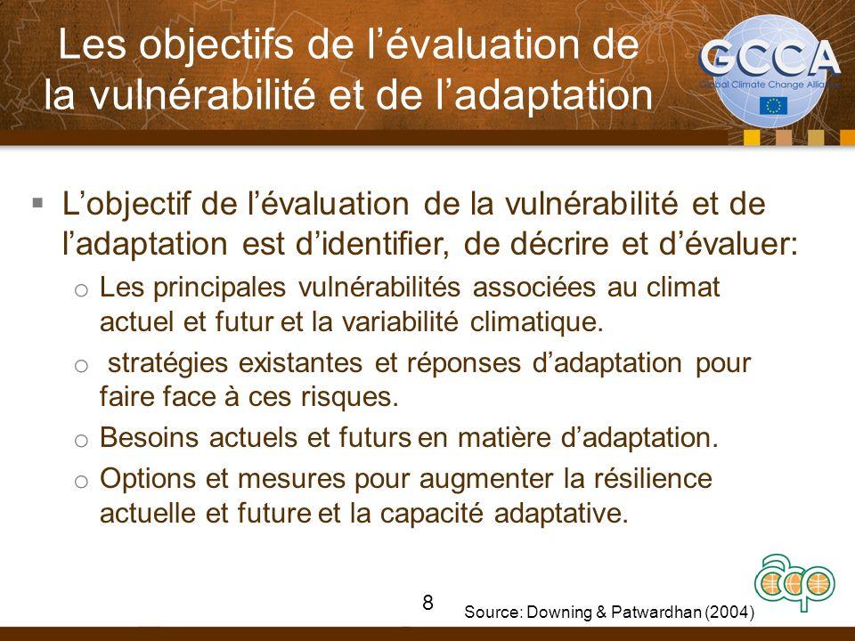 Les objectifs de lévaluation de la vulnérabilité et de ladaptation Lobjectif de lévaluation de la vulnérabilité et de ladaptation est didentifier, de décrire et dévaluer: o Les principales vulnérabilités associées au climat actuel et futur et la variabilité climatique.