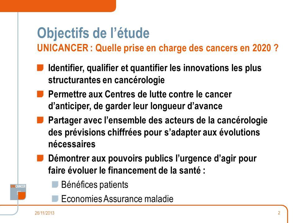 Objectifs de létude UNICANCER : Quelle prise en charge des cancers en 2020 ? Identifier, qualifier et quantifier les innovations les plus structurante