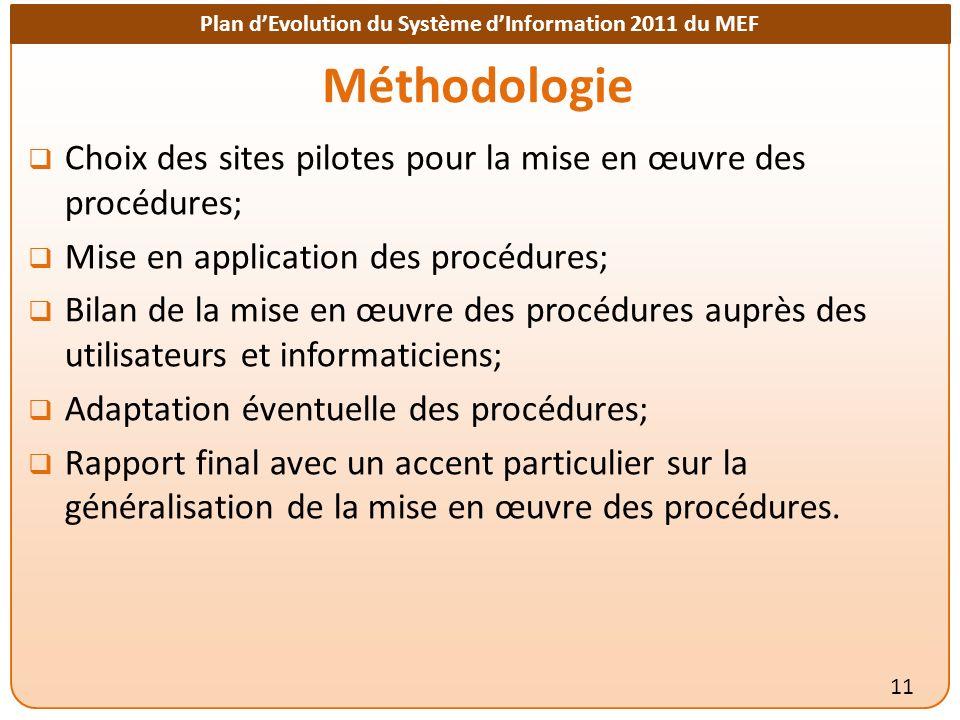 Plan dEvolution du Système dInformation 2011 du MEF Méthodologie Choix des sites pilotes pour la mise en œuvre des procédures; Mise en application des