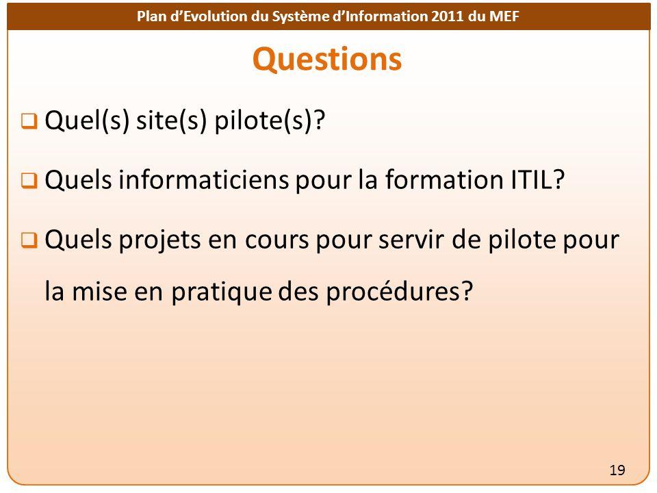 Plan dEvolution du Système dInformation 2011 du MEF Questions 19 Quel(s) site(s) pilote(s).