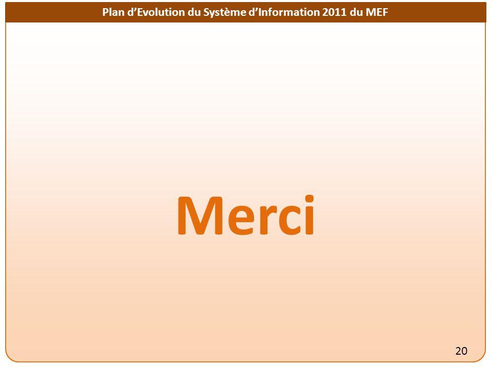 Plan dEvolution du Système dInformation 2011 du MEF Merci 20
