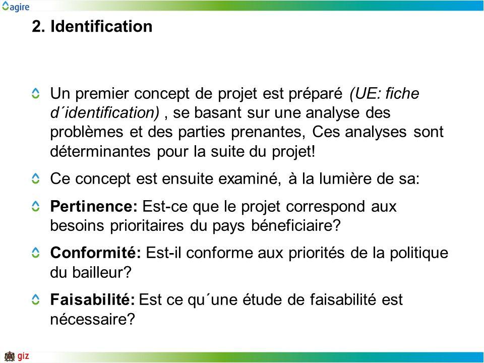2. Identification Un premier concept de projet est préparé (UE: fiche d´identification), se basant sur une analyse des problèmes et des parties prenan