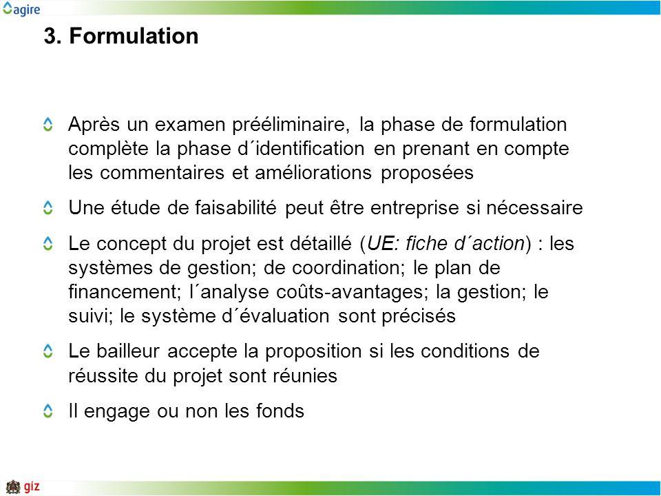 3. Formulation Après un examen prééliminaire, la phase de formulation complète la phase d´identification en prenant en compte les commentaires et amél