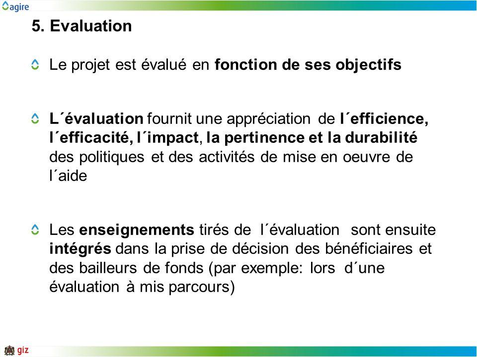 5. Evaluation Le projet est évalué en fonction de ses objectifs L´évaluation fournit une appréciation de l´efficience, l´efficacité, l´impact, la pert
