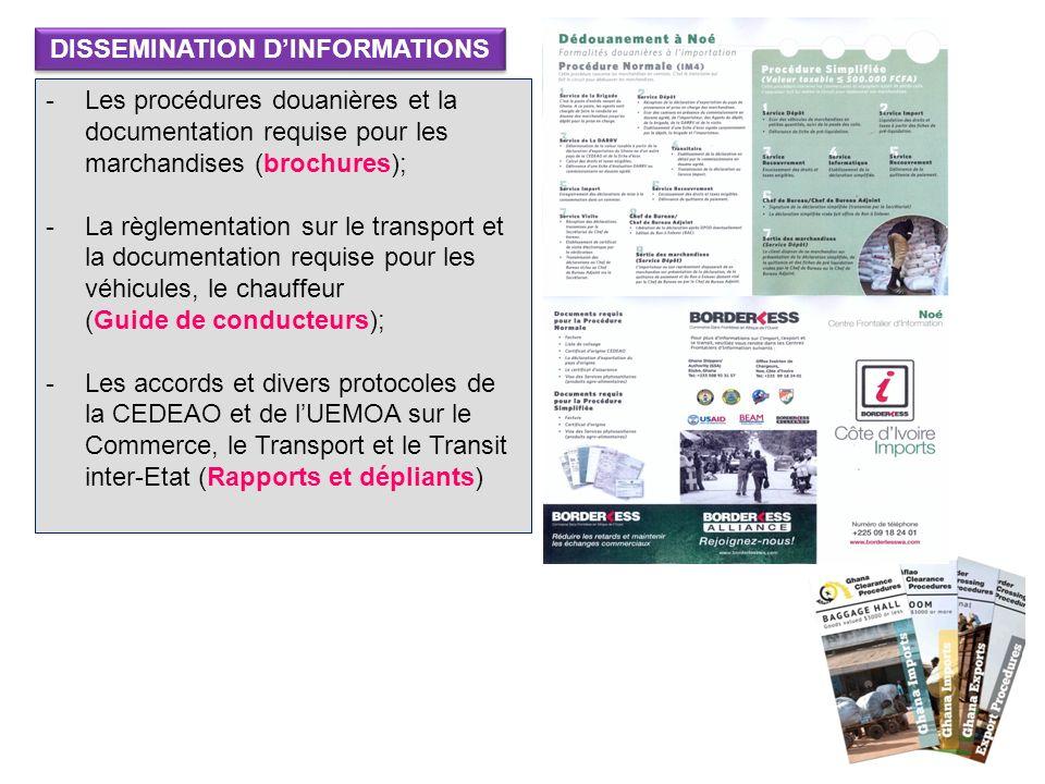 -Les procédures douanières et la documentation requise pour les marchandises (brochures); -La règlementation sur le transport et la documentation requ