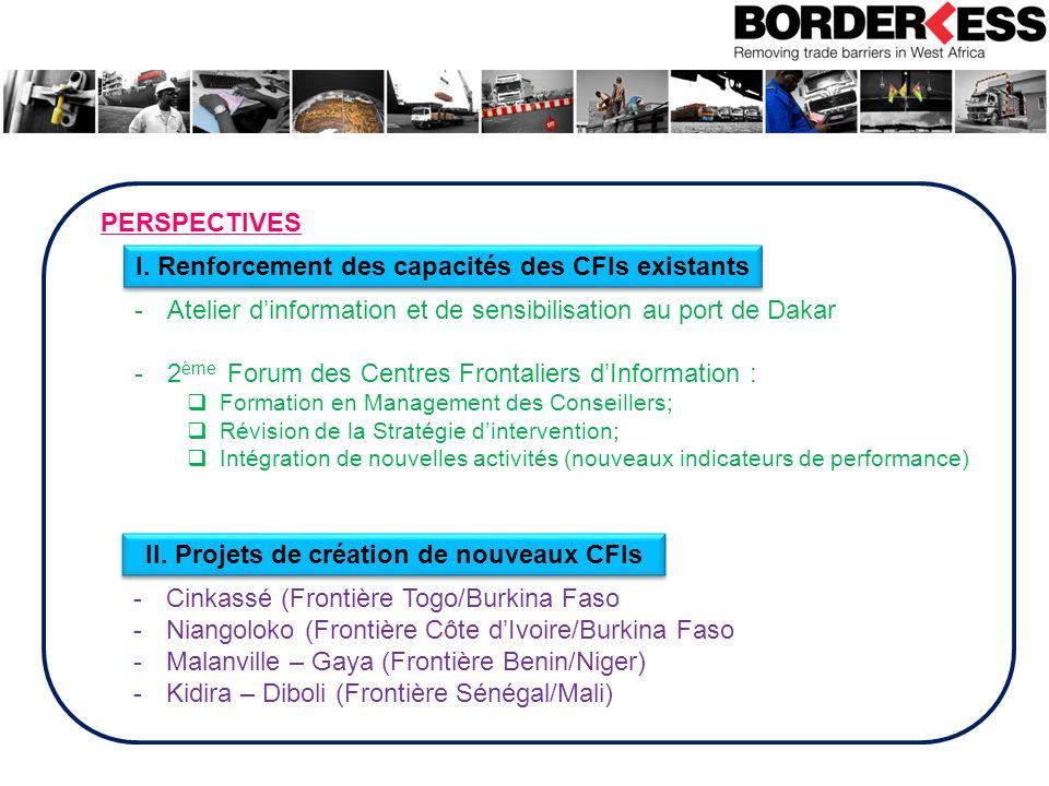 PERSPECTIVES I. Renforcement des capacités des CFIs existants II. Projets de création de nouveaux CFIs -Cinkassé (Frontière Togo/Burkina Faso -Niangol
