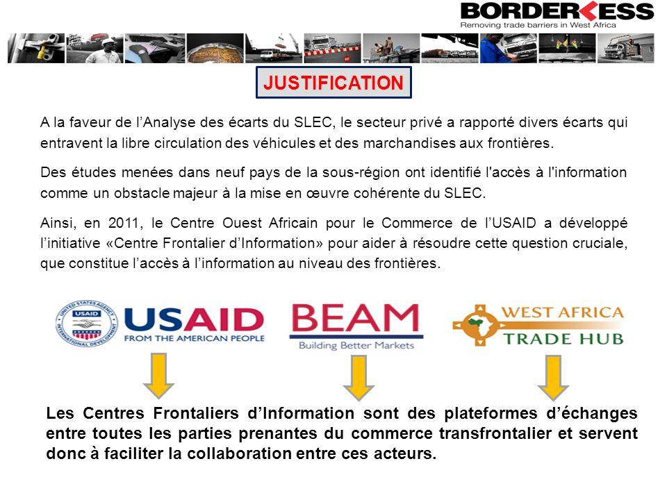 MISSIONS DES CFI La mission principale des CFI est daméliorer les échanges intra régionaux à travers la réalisation des objectifs suivants : 1.Réduire les coûts des transactions commerciales entre les pays grâce à une amélioration des procédures et une réduction du temps de transit aux frontières; 2.Accroitre les flux commerciaux formels grâce à la réduction du commerce informel et de la contrebande.