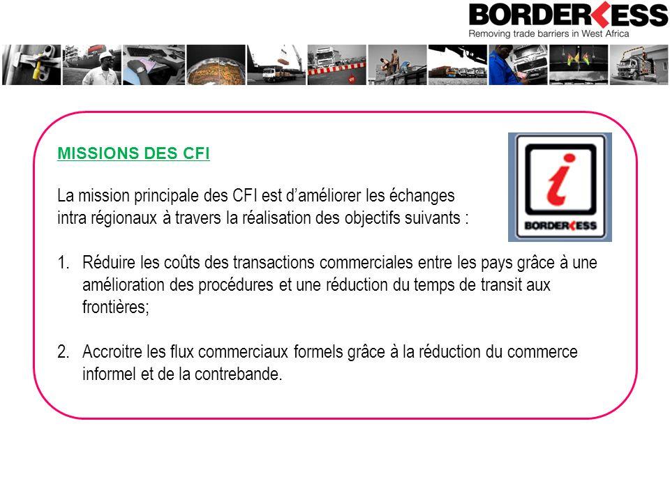 MISSIONS DES CFI La mission principale des CFI est daméliorer les échanges intra régionaux à travers la réalisation des objectifs suivants : 1.Réduire