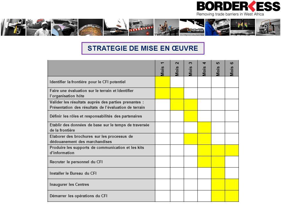 STRATEGIE DE MISE EN ŒUVRE Mois 1Mois 2Mois 3Mois 4 Mois 5 Mois 6 Identifier la frontière pour le CFI potentiel Faire une évaluation sur le terrain et