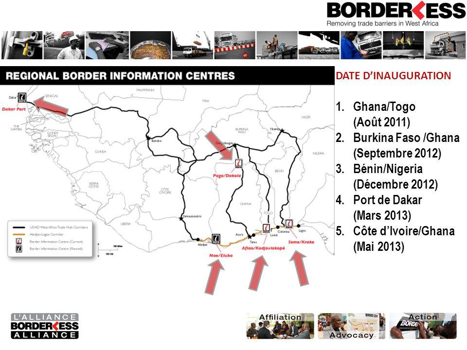 DATE DINAUGURATION 1.Ghana/Togo (Août 2011) 2.Burkina Faso /Ghana (Septembre 2012) 3.Bénin/Nigeria (Décembre 2012) 4.Port de Dakar (Mars 2013) 5.Côte