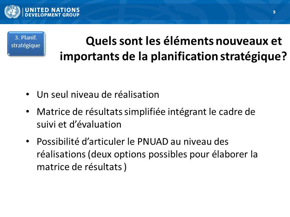 1.Road Map 6 Option 1A: Matrice de résultats du PNUAD comprenant seulement les réalisations 3.