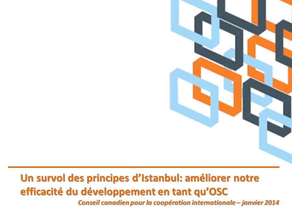 Un survol des principes dIstanbul: améliorer notre efficacité du développement en tant quOSC Conseil canadien pour la coopération internationale – janvier 2014