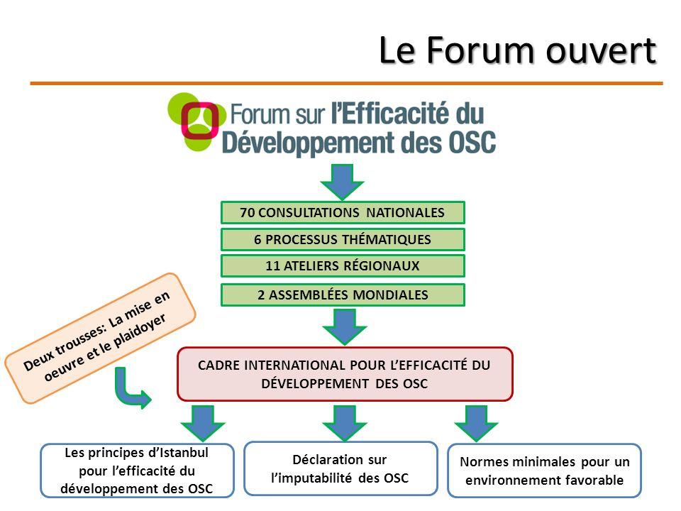 Le Forum ouvert 70 CONSULTATIONS NATIONALES 6 PROCESSUS THÉMATIQUES 11 ATELIERS RÉGIONAUX 2 ASSEMBLÉES MONDIALES CADRE INTERNATIONAL POUR LEFFICACITÉ DU DÉVELOPPEMENT DES OSC Les principes dIstanbul pour lefficacité du développement des OSC Déclaration sur limputabilité des OSC Normes minimales pour un environnement favorable Deux trousses: La mise en oeuvre et le plaidoyer