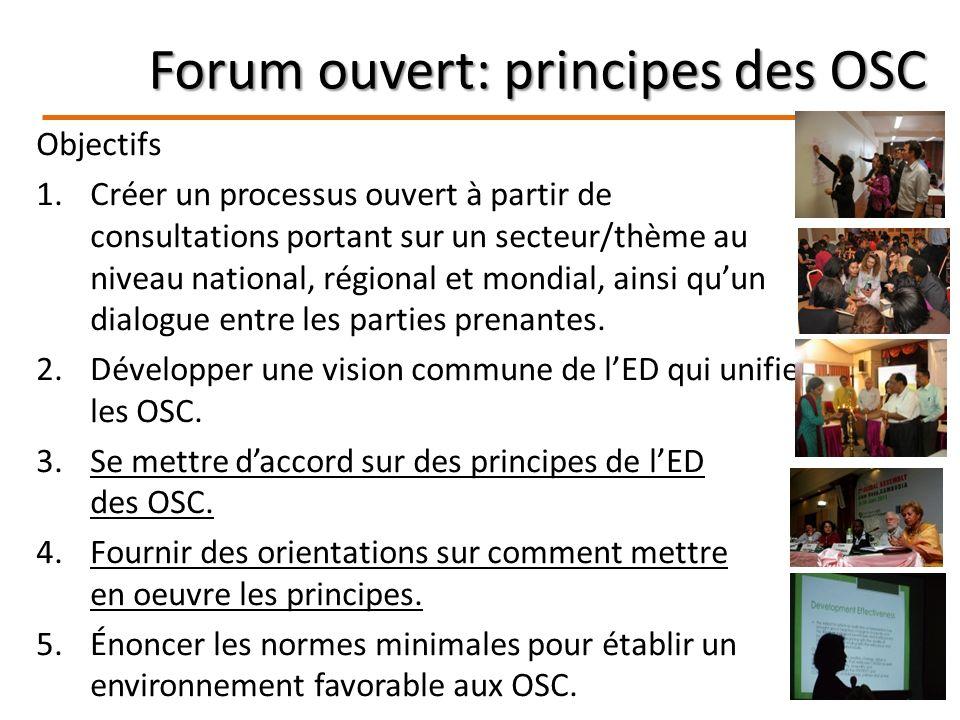 Forum ouvert: principes des OSC Objectifs 1.Créer un processus ouvert à partir de consultations portant sur un secteur/thème au niveau national, régional et mondial, ainsi quun dialogue entre les parties prenantes.