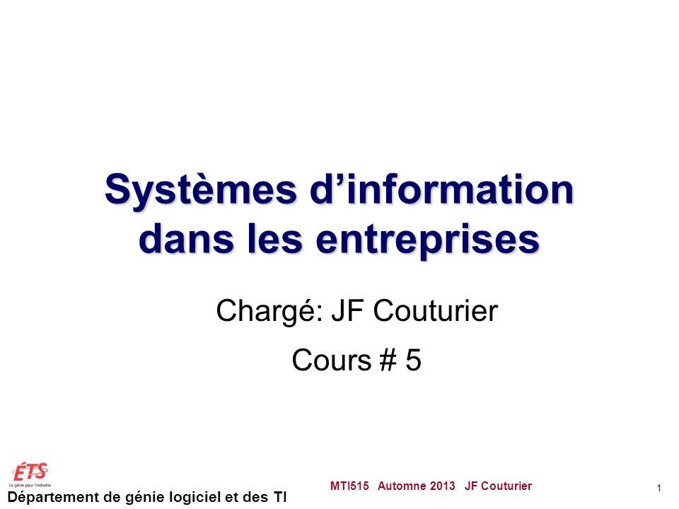 Département de génie logiciel et des TI Systèmes dinformation dans les entreprises Chargé: JF Couturier Cours # 5 MTI515 Automne 2013 JF Couturier 1