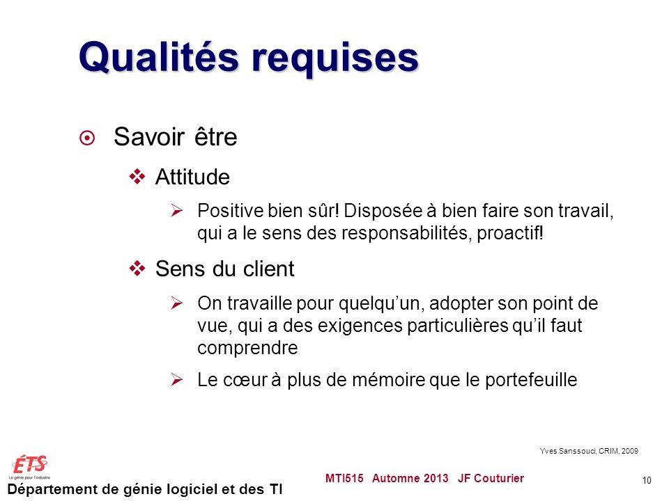 Département de génie logiciel et des TI Qualités requises Savoir être Attitude Positive bien sûr.