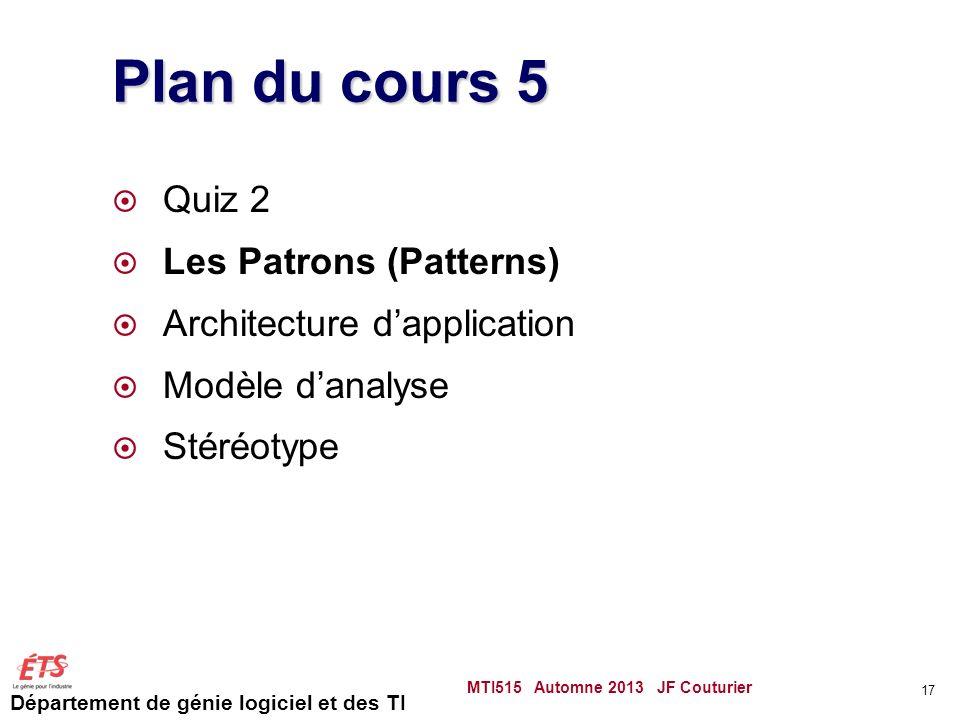 Département de génie logiciel et des TI Plan du cours 5 Quiz 2 Les Patrons (Patterns) Architecture dapplication Modèle danalyse Stéréotype MTI515 Automne 2013 JF Couturier 17
