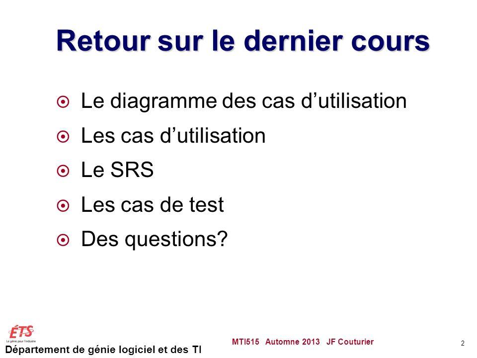 Département de génie logiciel et des TI Retour sur le dernier cours Le diagramme des cas dutilisation Les cas dutilisation Le SRS Les cas de test Des questions.