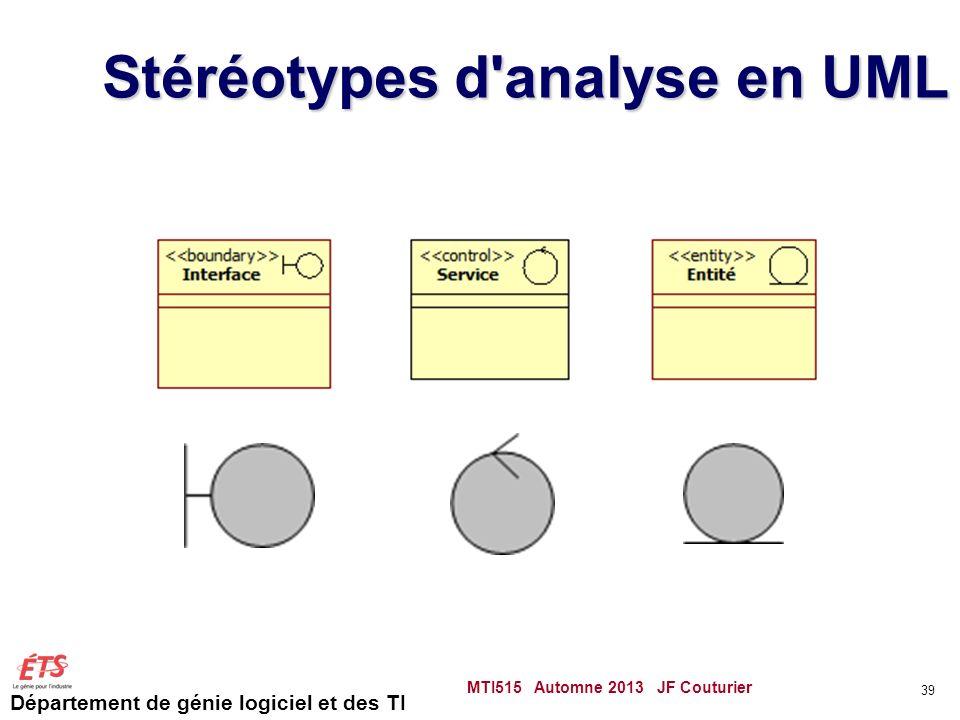 Département de génie logiciel et des TI Stéréotypes d analyse en UML MTI515 Automne 2013 JF Couturier 39