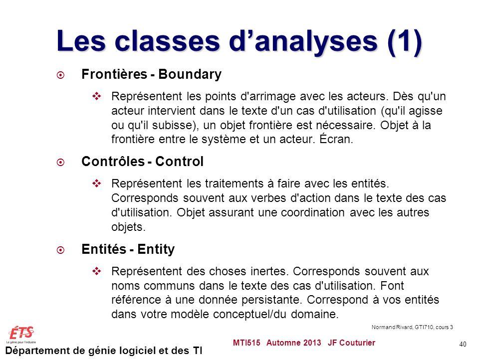 Département de génie logiciel et des TI Les classes danalyses (1) Frontières - Boundary Représentent les points d arrimage avec les acteurs.